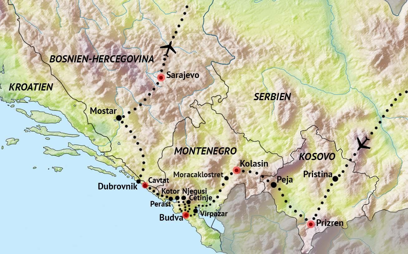 Karta Bosnien Och Hercegovina.Kosovo Montenegro Kroatien Bosnien Hercegovina Nyhet