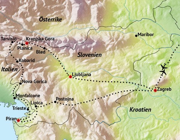 Karta Nord Italien.Slovenien Med Kroatien Italien Nyhet