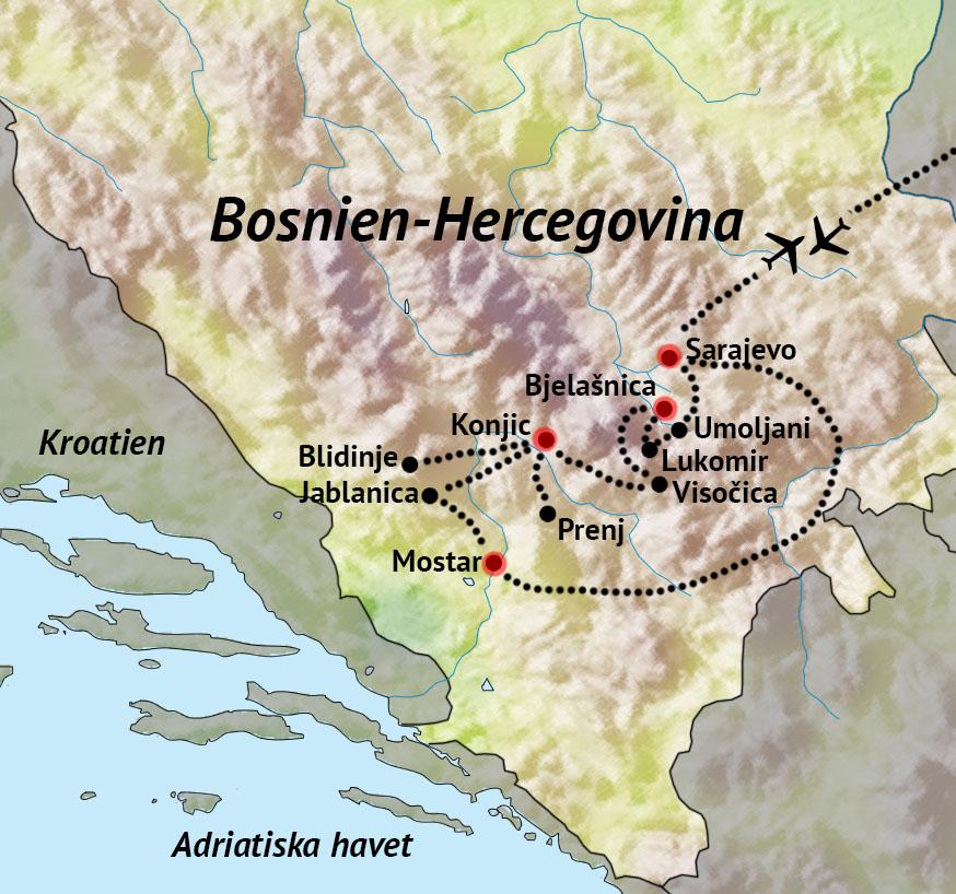 Karta Bosnien Och Hercegovina.Vandringsresa Bosnien Hercegovina